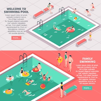 Набор горизонтальных баннеров для бассейна