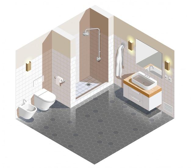バスルームのインテリア等尺性シーン
