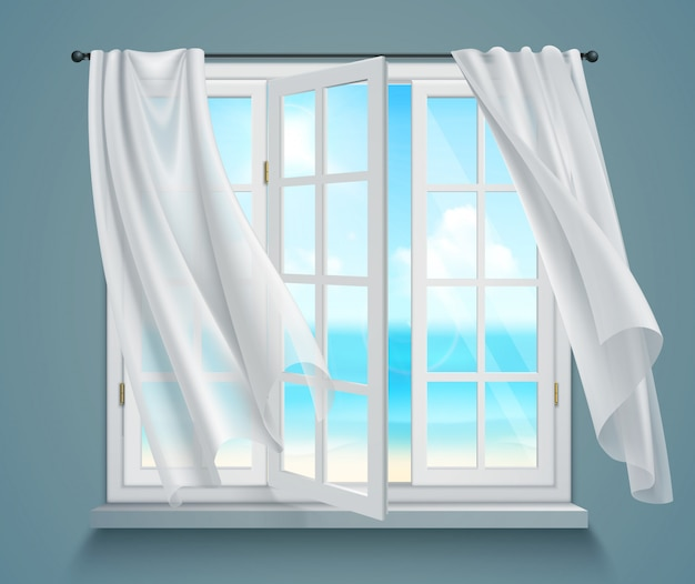 Окно с развевающимися белыми занавесками