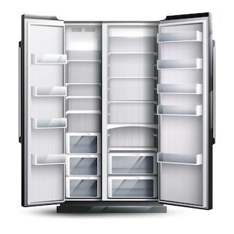 より広い空の冷蔵庫を開いた