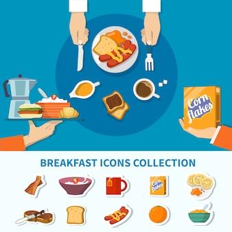 Плоская коллекция икон завтрак