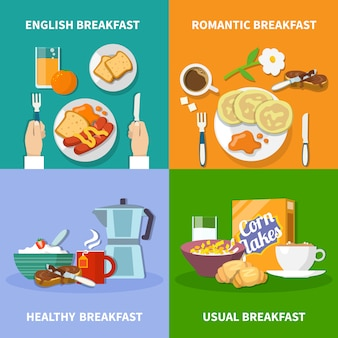 Набор иконок плоский завтрак