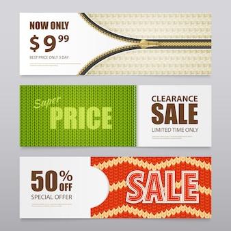 . реалистичные трикотажные текстуры продажа баннер