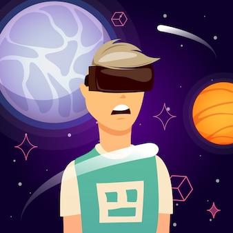 Композиция исследования космоса виртуальной реальности