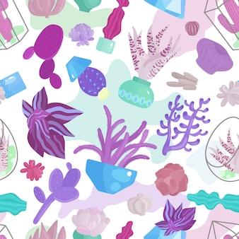 多肉植物のシームレスパターン