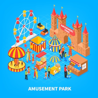 Парк развлечений изометрические иллюстрации