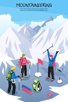 Альпинисты на вершине иллюстрации