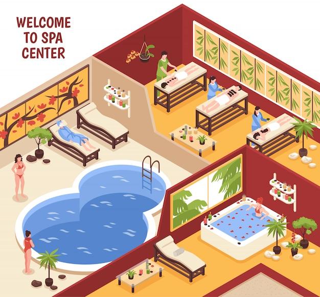 Изометрические спа-центр иллюстрации