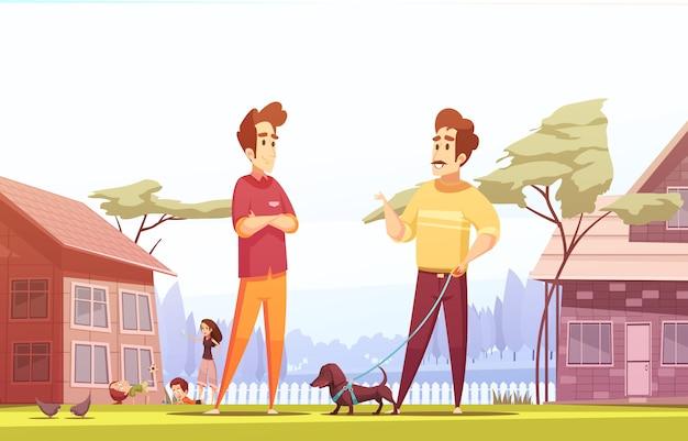 Иллюстрация двух соседей-мужчин в деревне