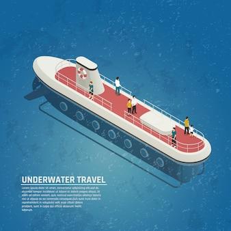 Подводная лодка подводное путешествие изометрическая композиция