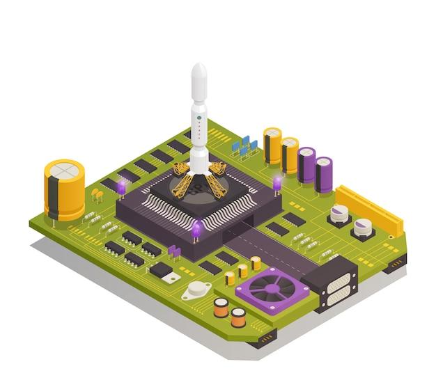 Изометрическая композиция полупроводниковых электронных компонентов