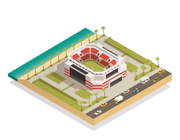 Футбольный спортивный стадион изометрическая композиция
