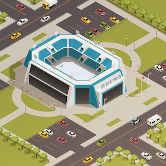 Стадион спорт арена изометрическая композиция