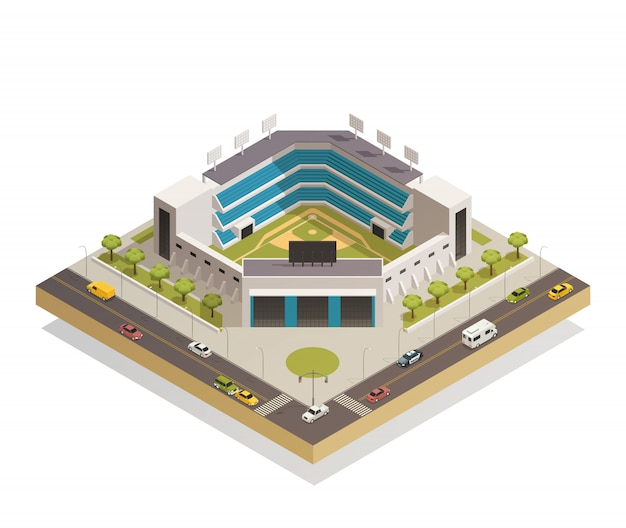 Бейсбольный спортивный стадион изометрическая композиция