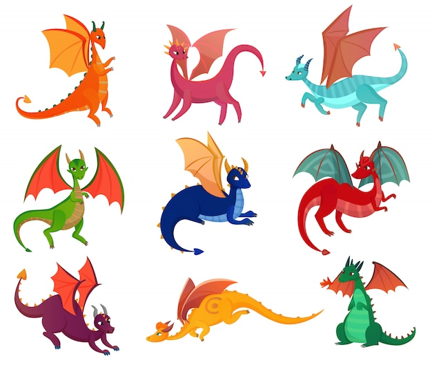 Набор милых сказочных драконов