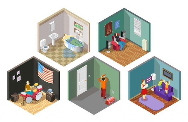 Набор изометрических композиций отношений соседей