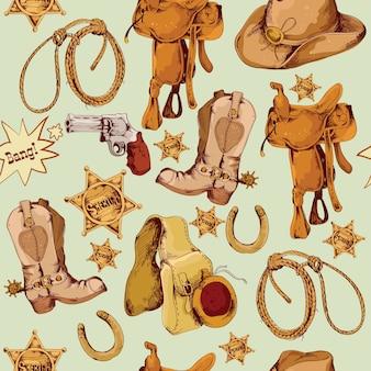 野生の西カウボーイ色の手は、草の馬の鞍のベクトル図とシームレスなパターンを描いた