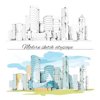 現代の都市スケッチを構築する手描きの街並みベクトル図を描いた