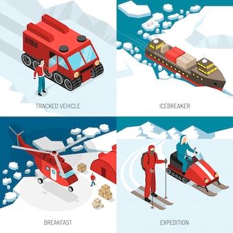 Арктическая полярная станция изометрическая концепция