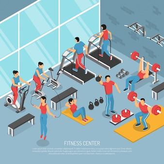 Фитнес центр интерьер изометрические иллюстрации
