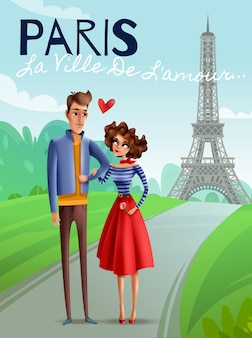 Париж мультяшный векторная иллюстрация