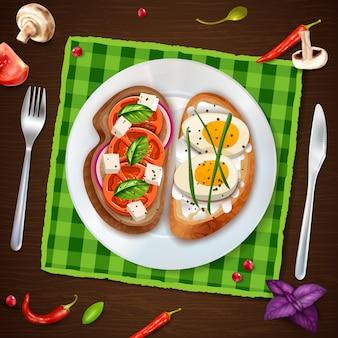 Бутерброды на тарелку деревенском иллюстрации