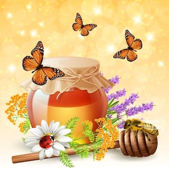 現実的な蜂蜜を持つ昆虫