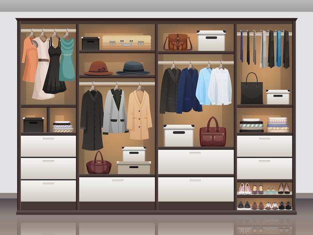 Шкаф для хранения интерьера реалистичный
