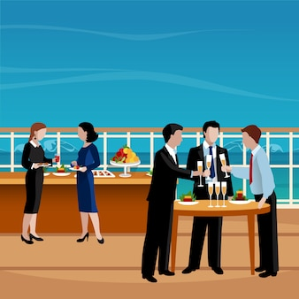 フラット色のビジネスランチの人々ベクトルイラスト