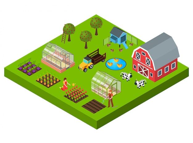 Ферма изометрические концепция