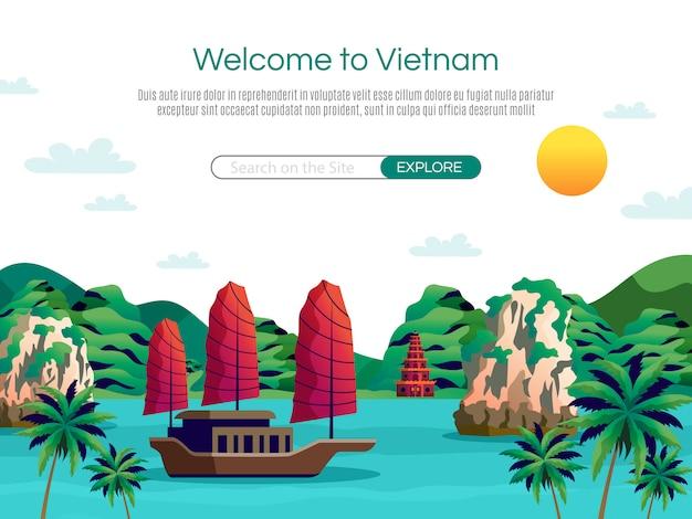 Добро пожаловать на целевую страницу вьетнама и веб-шаблон