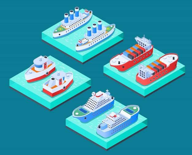 Корабли изометрические концепция дизайна