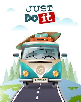 ミニバスの旅旅行イラスト