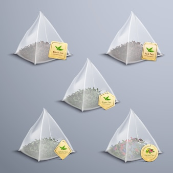 Чайные пирамидальные пакетики реалистичный набор