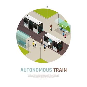 Изометрическая композиция автономного поезда