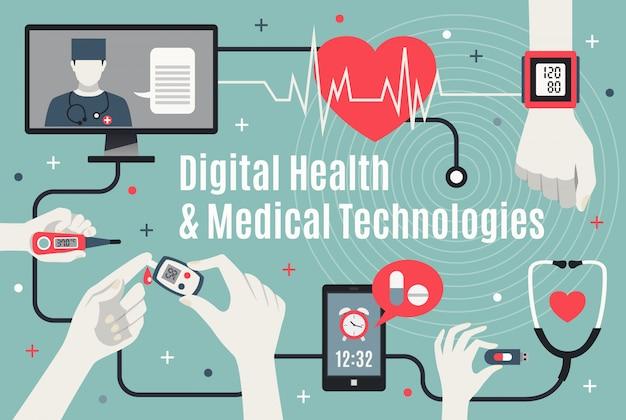デジタルヘルスケアテクノロジーフラットインフォグラフィック