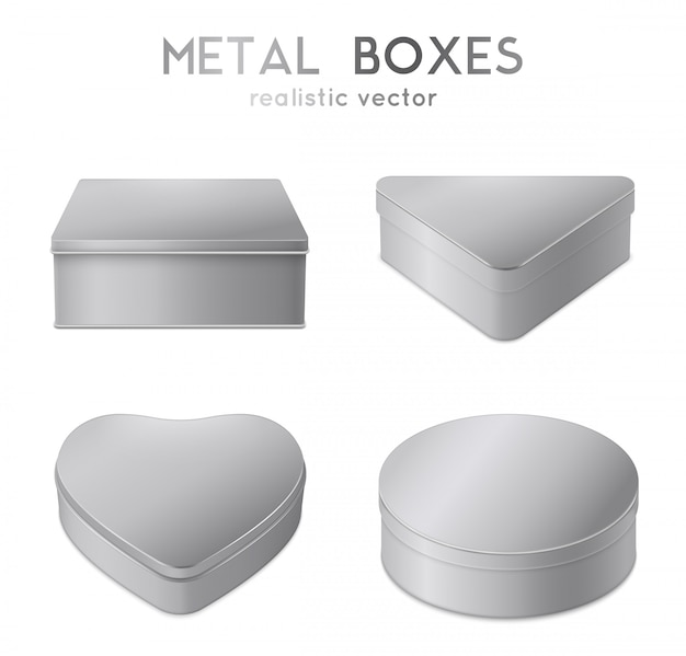 Набор реалистичных металлических коробок