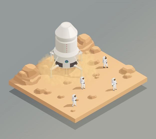 Космический корабль экипаж космонавтов изометрическая композиция