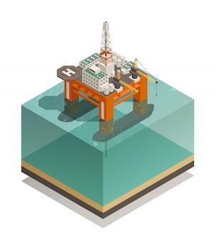 Нефтедобывающая промышленность изометрическая композиция