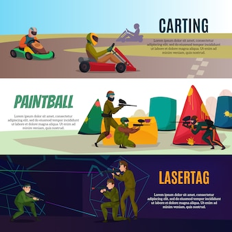 Набор современных игровых спортивных баннеров