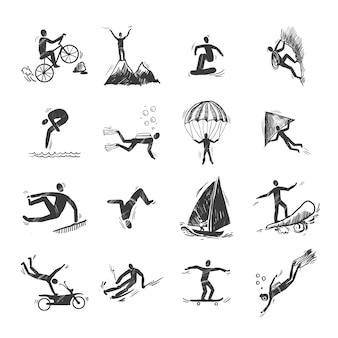 エクストリームスポーツアイコンスケッチ、ダイビング、登る、セーリング、隔離された、落書き、ベクトル、イラスト
