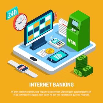 Интернет-банкинг изометрическая композиция