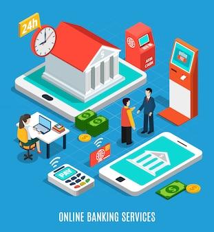 Онлайн банковские услуги изометрические композиции