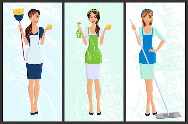 Молодая женщина, домохозяйка, набор очистки с брызгами и губка полная длина портрет баннеры изолированных векторной иллюстрации