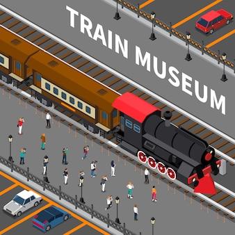 Музей поездов изометрическая композиция