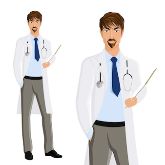 Привлекательный молодой человек врач с буфером обмена и фонлендоскоп портрет, изолированных на белом фоне векторной иллюстрации