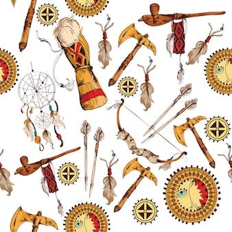 民族のネイティブアメリカンインディアンの種族手描きのシームレスな色の背景ベクトルイラスト