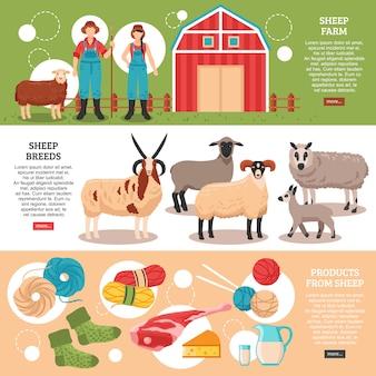 羊飼育フラットバナー