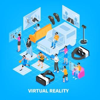 Виртуальная реальность изометрическая композиция