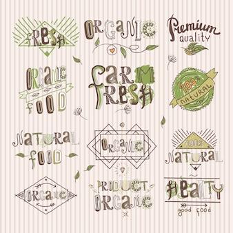 自然な新鮮な有機プレミアム品質の食品ラベルは、고립のベクトル図を設定